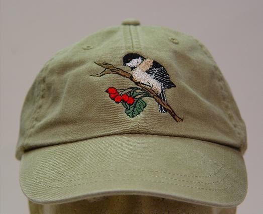 Black Capped Chickadee  Bird Hat  One Embroidered by priceapparel