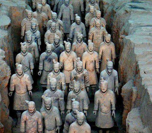 On March 29, 1974, 3 farmers were drilling holes in the hopes of finding water when they came upon some ancient terracotta pottery shards. news of this discovery spread and by July a Chinese archaeological team began excavating the site. What these farmers had discovered was the 2200-year-old remains of a life-sized, terracotta army which had been buried with Qin Shihuangdi, the man who had united the varied provinces of China and thus became the very first emperor of China (221-210 BCE).