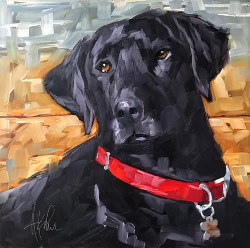 "Daily Paintworks - ""Lucca the Black Lab"" - Original Fine Art for Sale - © Hallie Kohn"