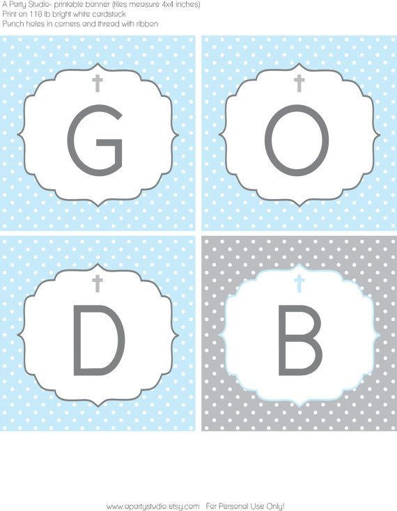 Polka Dot Baptism Blue and Grey Banner with Name by APartyStudio