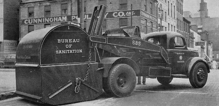 Garbage truck from the 1950s. Dark Roasted Blend: Unsung Heroes: Vintage Garbage & Sanitation Trucks