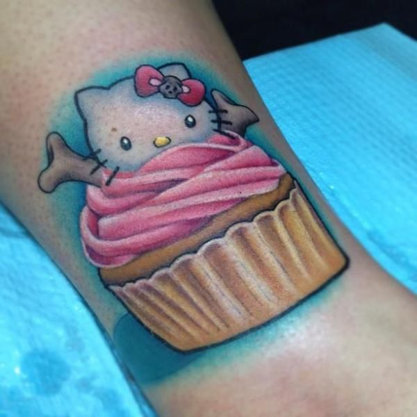 Cupcake Tattoo. It's cute, but I would do sprinkles and maybe a strawberry instead of Hello Kitty.