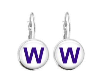 Chicago Cubs W Flag Earrings Cubs Win World by GirlPowerPendants