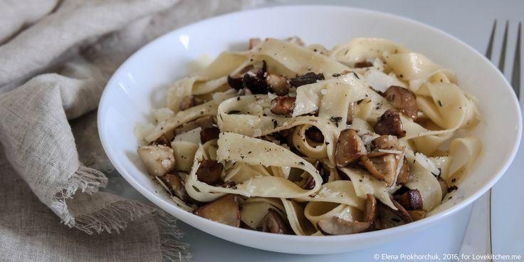 Паста с белыми грибами, чесноком и тимьяном