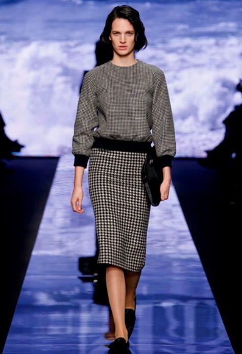 Gonna in pied de poule, Max Mara autunno-inverno 2015/-2016, model:Ashleigh Good