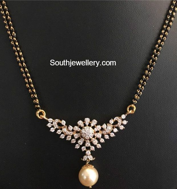 Black Beads Mangalsutra Chain Models with diamond pendants