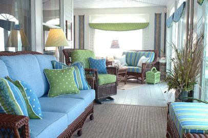 Love the colorsBeach House, Cottage Furniture, Blue Green, Living Room, Wicker Furniture, Porches Furniture, Cottages Furniture, Sun Room, Home Furniture
