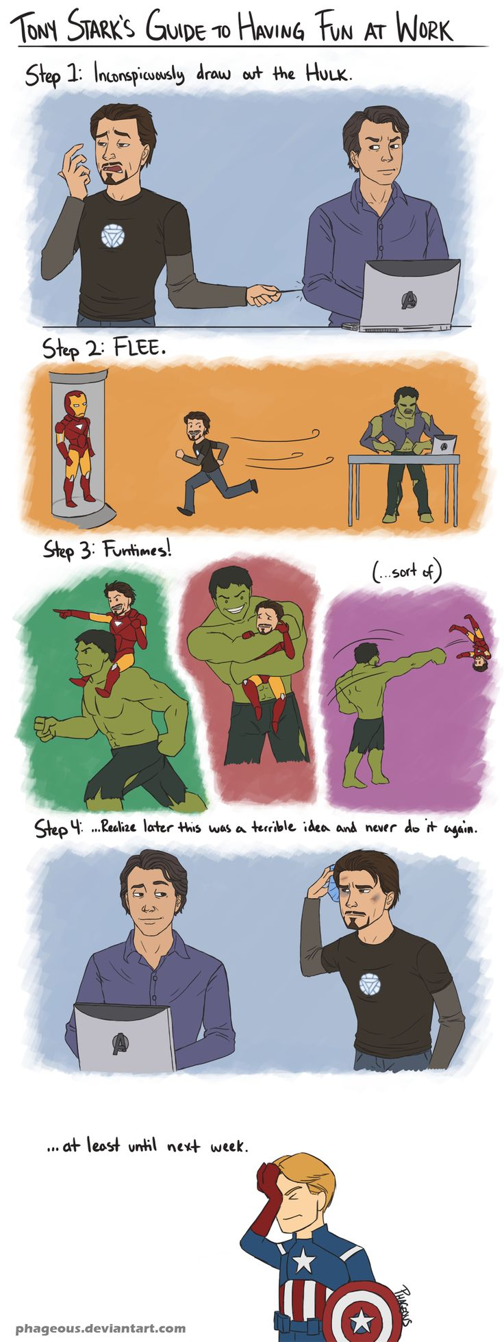 """Avengers: Tony and Bruce by *Phageous on deviantART --- I did kind of wonder what his plan was if he managed to get the Hulk to come out and play. But then I thought, this is Tony, he doesn't really have a plan..."""