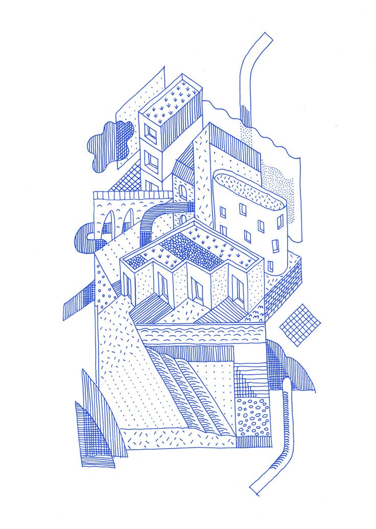 BLUE  Drawing ARCHITECTURE          | Thibaut Rassat, 'Stacked city', 2015, ink, digital
