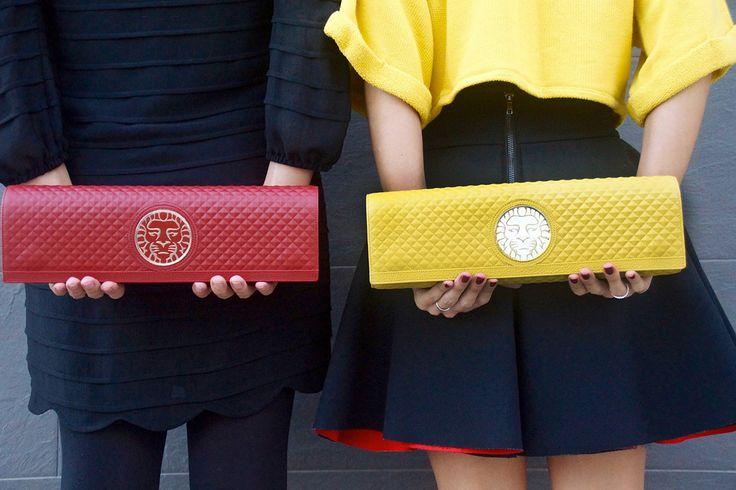 Red and yellow Regina handbag by Coleccion Alexandra Accessories