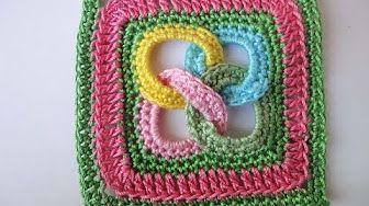 アフリカンフラワーモチーフの編み方(四角形) * African Flower Square Crochet Motif * - YouTube