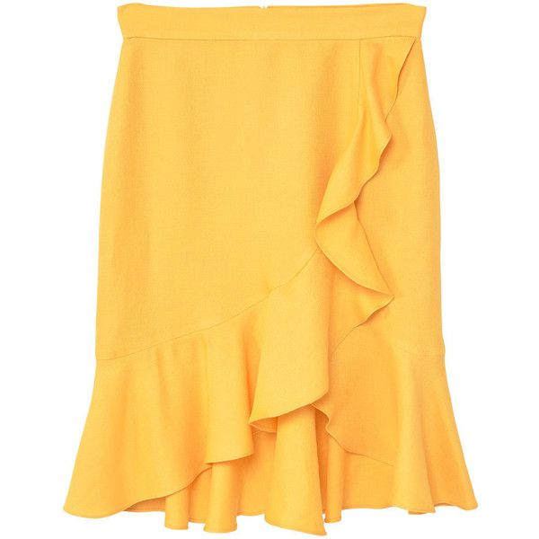 Ruffled Linen-Blend Skirt (975 DOP) ❤ liked on Polyvore featuring skirts, faldas, frill skirt, frilled skirt, flounce skirt, yellow skirt and flouncy skirt