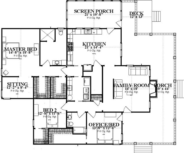 House Plan 1070 00242 Ranch Plan 2 185 Square Feet 3
