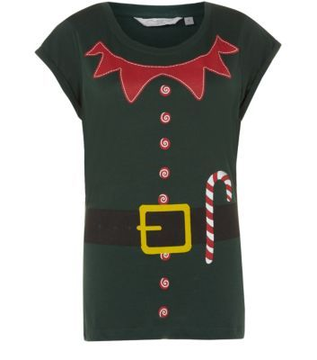 Dark Green Elf Outfit Christmas T-Shirt