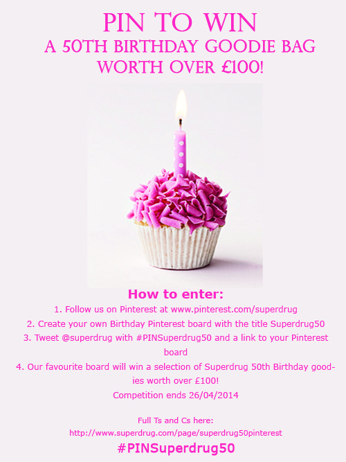 PIN to WIN for our 50th Birthday!  The complete reason for the board :-)  Love superdrug. My one stop shop! Always have the latest Barry m! And with fantastic offers!! X