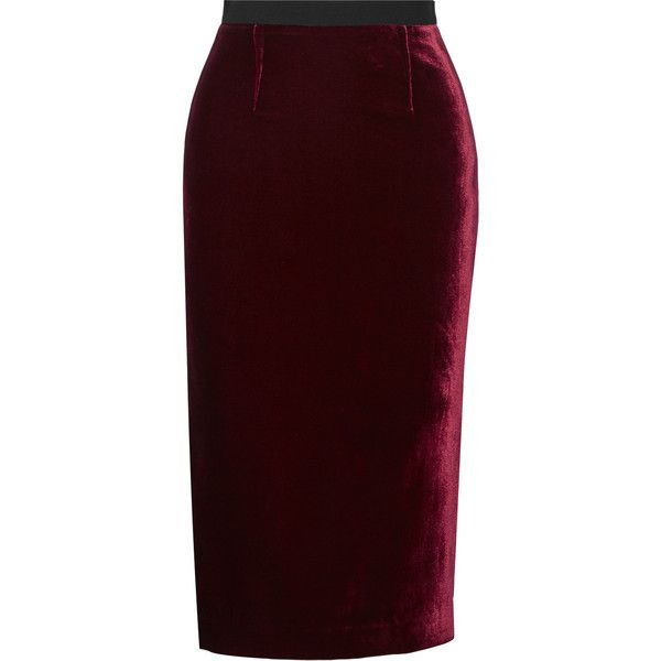 Roland Mouret Arreton velvet and stretch-cady pencil skirt ($725) ❤ liked on Polyvore featuring skirts, roland mouret, юбки, zipper skirt, shiny skirt, burgundy skirt, red knee length pencil skirt and stretch skirts