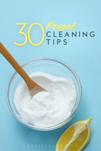 30 frugal house-cleaning-tips to help you clean all areas of your home without spending a lot.  Includes some #DIY cleaning ideas as well.
