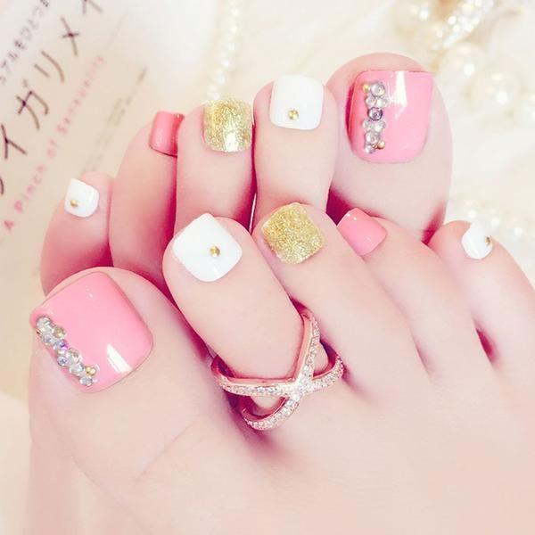 Pink Gold White Press On Toenails Pink Toe Nails French Toe Nails Toe Nail Designs