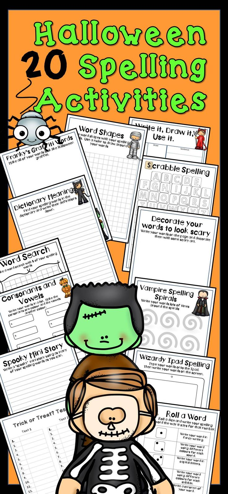 halloween spelling activities any word list halloween teaching spelling activities. Black Bedroom Furniture Sets. Home Design Ideas