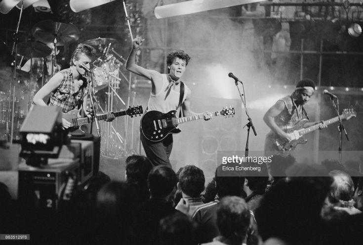 Big Country make their first appearance on Channel 4 TV Show 'The Tube', Tyne Tees Television studios, Newcastle, 18th March 1983. L-R Bruce Watson, Stuart Adamson, Tony Butler.