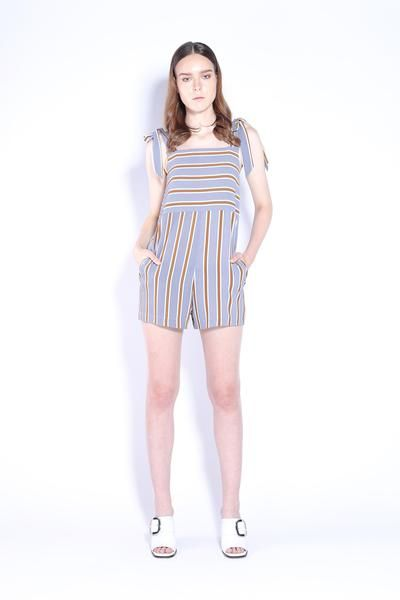 Pretty pastel stripes print.  Perfect for summer with relax fit and light weight fabric. Featured side seam zip opening.  Featured bow tie straps at shoulder an