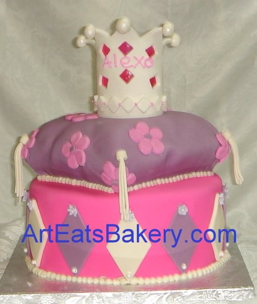 Pink Purple Multi-shape Wedding Cakes Photos & Pictures - WeddingWire.com