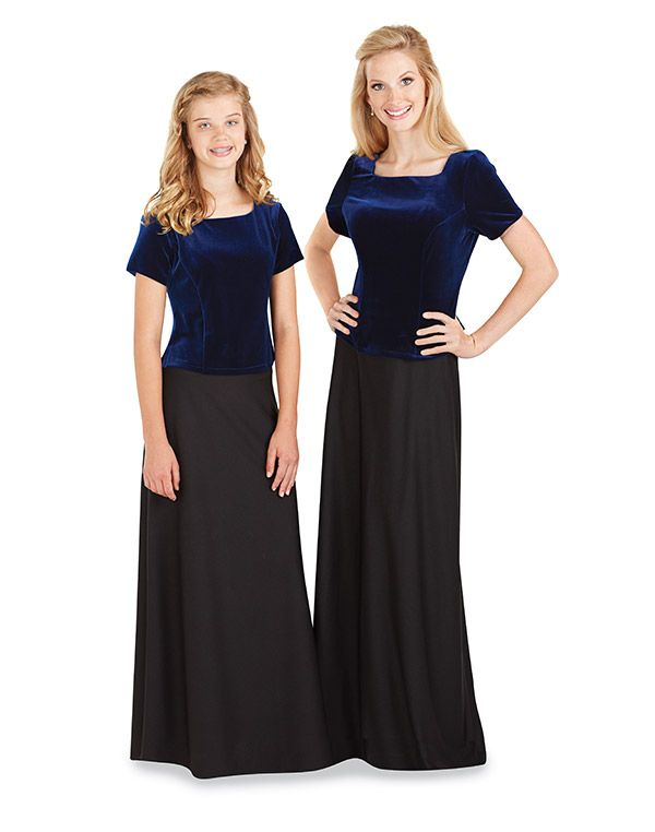 Blue velvet top for children's choir uniform