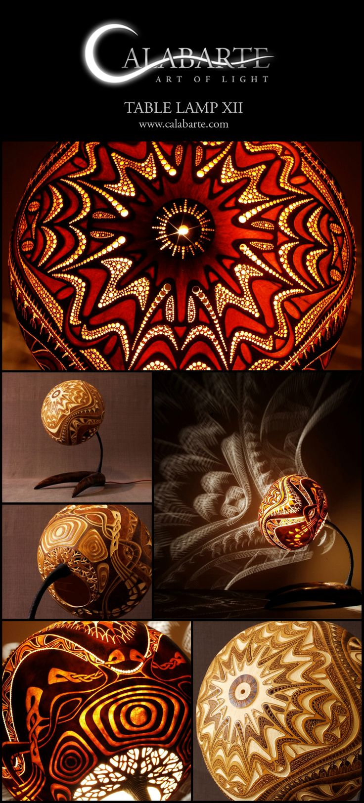 Table lamp XII by Calabarte. Handcrafted lamp is made of senegalese calabash…