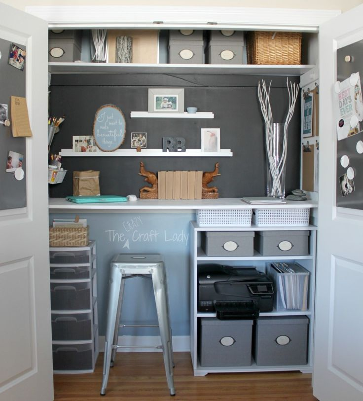 Home Office in a Closet - See how to maximize your storage, get organized, and create a functional work space.