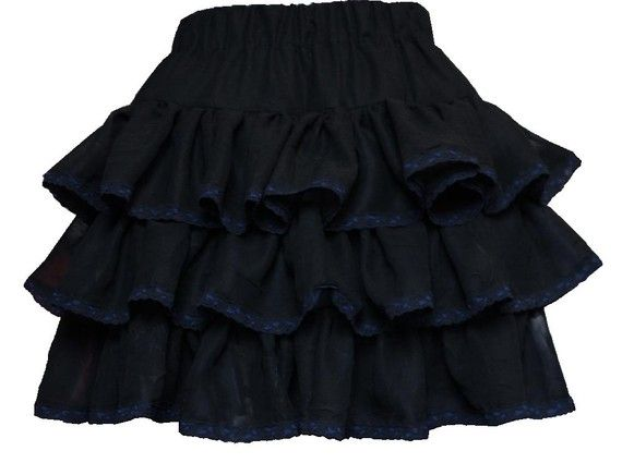 black ruffle skirt with blue lace trim