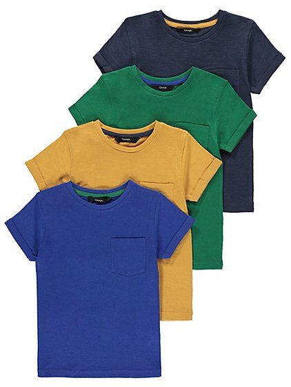 Created in pure cotton this 4 pack of t-shirts makes the perfect everyday wear bundle.  Finished with a slip pocket, short sleeves and turn-up detail, they a...