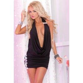 Black Sexy Diamond Draped Club Dress
