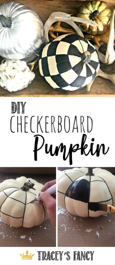 DIY Checkerboard Pumpkin by Tracey's Fancy | Upscale Farmhouse Pumpkins | Painted Pumpkin | Black and White Pumpkins | Fall Decorating Ideas | Fall Tablescape Ideas | Pumpkin Tablescape | Alice in Wonderland Pumpkins | Halloween Decor | Harvest Decor | Fa