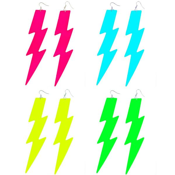 80s glam Jem holograms flurescent NEON colours Thunder lightning bolt... ($11) ❤ liked on Polyvore featuring jewelry, earrings, eighties jewelry, 1980s earrings, jem earrings, lightning bolt jewelry and hologram jewelry