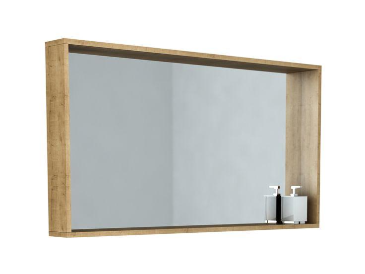 Framed Bathroom Mirror, Oak Framed Bathroom Mirror With Shelf