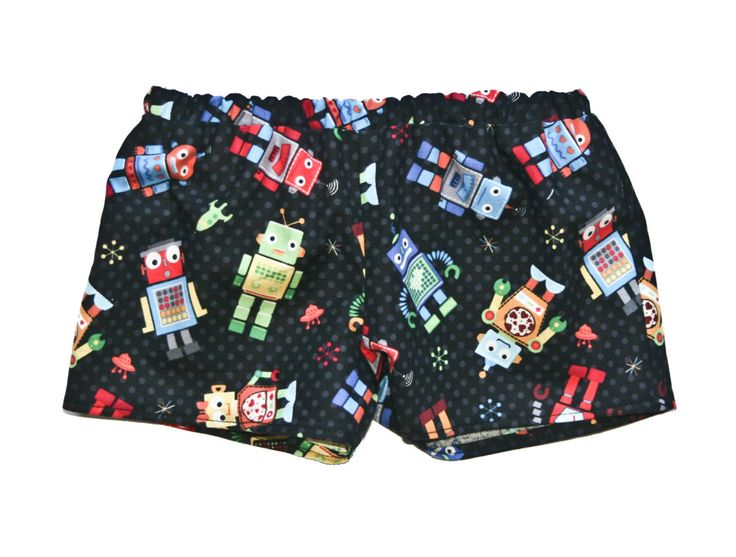Kids Robot Shorts, Baby Clothing, Baby Boy, Summer Fashion, Gift Ideas by MollylovesBowieKIDS on Etsy