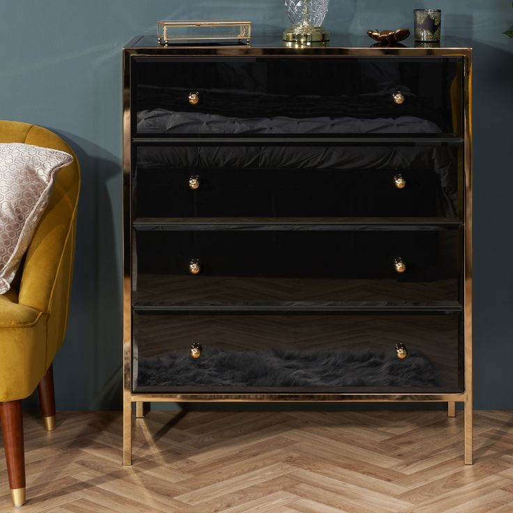 Best Fenwick Black And Gold 4 Drawer Chest In 2020 Black 640 x 480