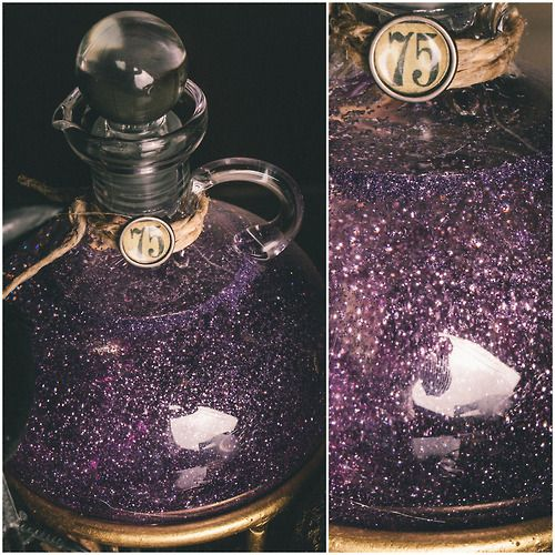 "DIY Harry Potter Potion Tutorial from Jill at scapbook.com. She gets this swirly glitter mix by using corn syrup. This is much cheaper than the glycerine you buy in a tiny bottle at the pharmacy that I've used in snow globes and ""keep calm"" jars."