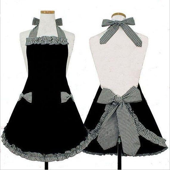 Robe magnifique tablier complet à la main pour cuisine cuisson accessoires ronds noirs