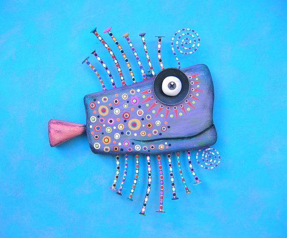 Peces de colores púrpura, escultura Original de la pared del objeto encontrado, talla de madera, decoración de la pared, Fig Jam Studio