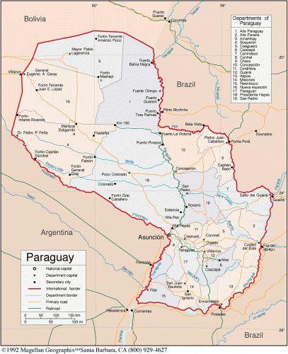 Mapa politico de paraguay con nombres