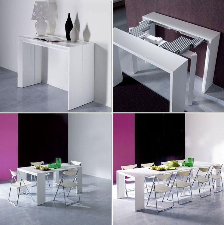 table gain de place- console blanche extensible Golia par Ozzio design
