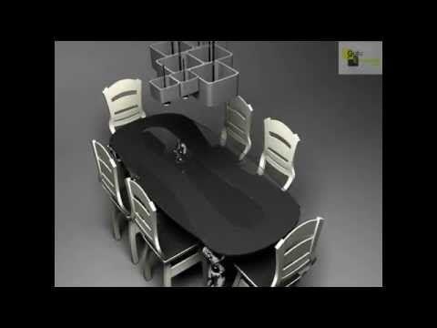 дизайн стола со стульями, дизайнерский стол, дизайнерский светильник