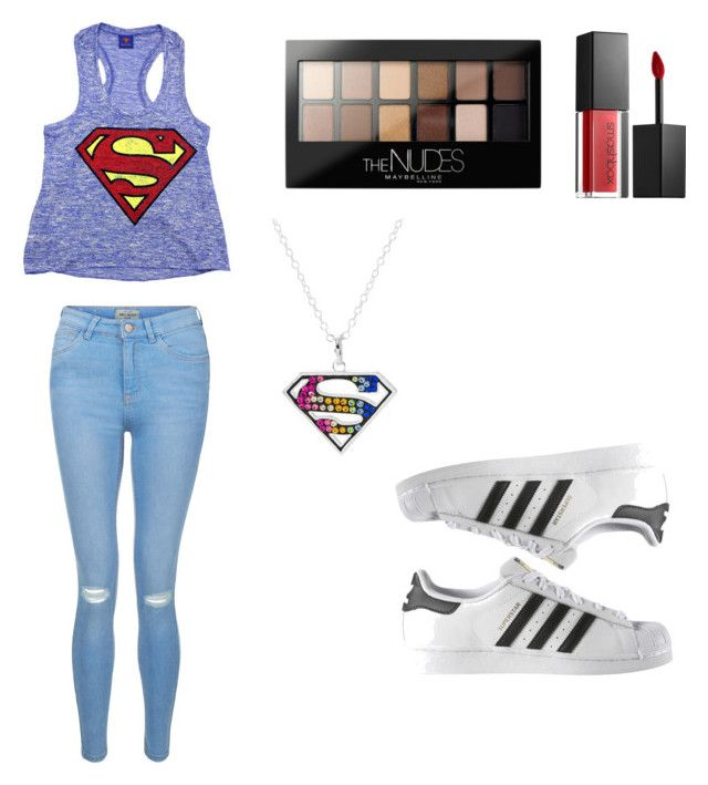 """""""Superman Outfit// New Bawse Lipstick by smashbox and Lilly Singh"""" by strawberrysmoothiee ❤ liked on Polyvore featuring Smashbox, New Look, Maybelline and adidas"""