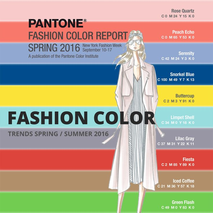 Colours 2016 – trendy colours for season spring and summer 2016. Trendy colours for clothes, accessories, furniture, interiors, for cosmetics and as an inspiration for hairdressers.