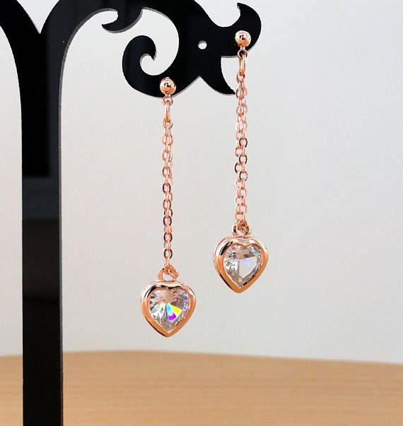 Rose gold chain earrings dangle tiny delicate heart long gold