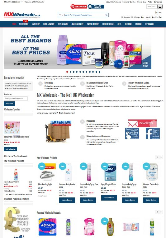 One of The largest ranges of Wholesale Products Online including Poundline products (£ lines) Smoking Papers and Accessories, Swag, Pocket Money Toys, Soft Toys, Branded Clearance Toys, Seasonal Goods, Garden Products, wholesale Tools, Blackspur Tools, Large range of household goods, Clothes, Stationery and much more.