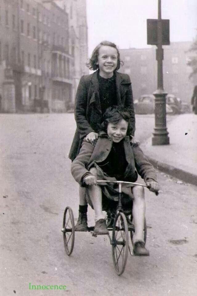 Having fun freewheeling down the hill into Parnell Square, Dublin.