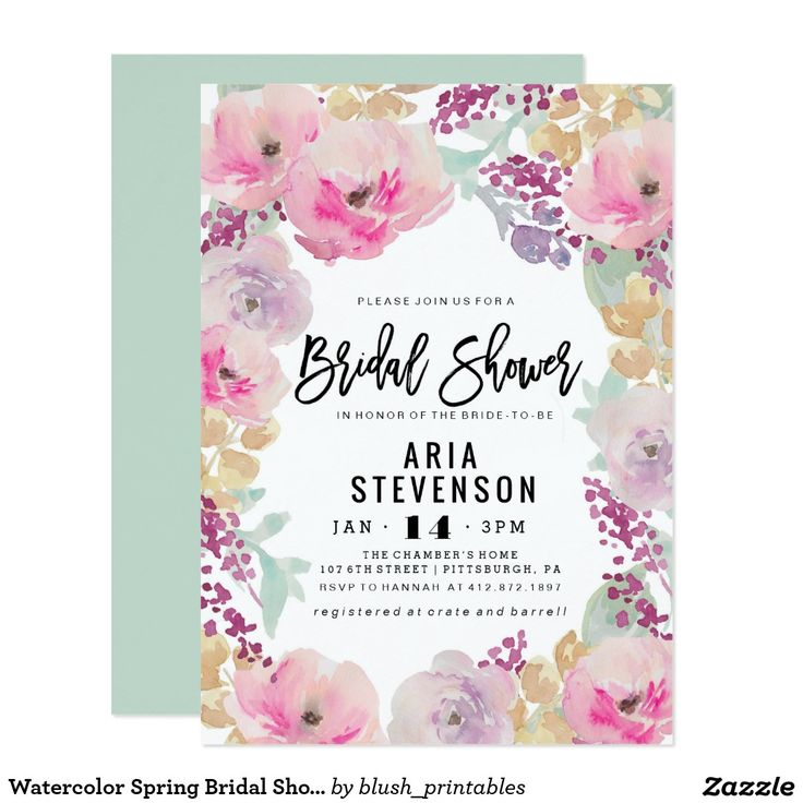 Watercolor Spring Bridal Shower Invitation Shower the bride before her big day with one of our personalized Spring Watercolor Bridal Shower Invitations. We have a wide variety of colors, styles and options to suit every personality, style and budget. Create a personalized bridal shower invitation for a memorable shower she won't forget!