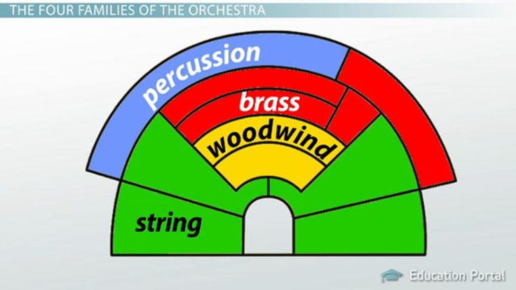 the four families of an orchestra A comprehensive smartboard lesson about the 4 families of the orchestra: woodwind, brass, string, and percussion each instrument has it's own page that includes a picture, sound sample, and important facts click on the image to hear a sound sample.